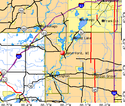 Waterford, WI map