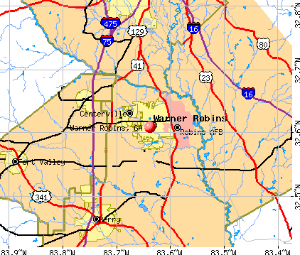 Warner Robins, GA map