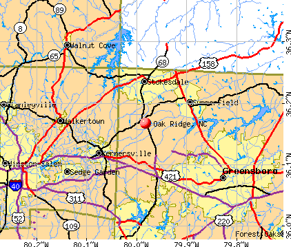 Oak Ridge, NC map