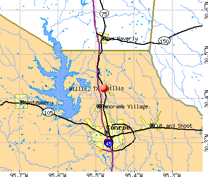 Willis, TX map