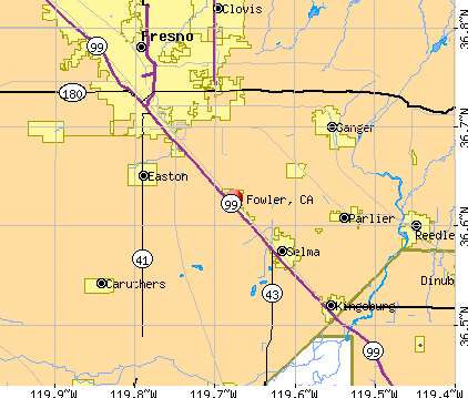 Fowler, CA map