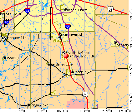 Whiteland, IN map