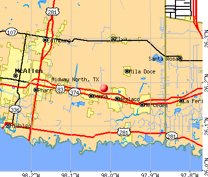 Midway North, TX map