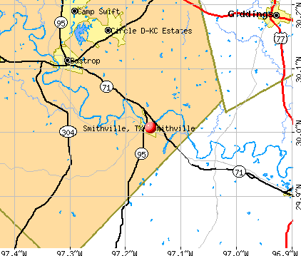 Smithville, TX map