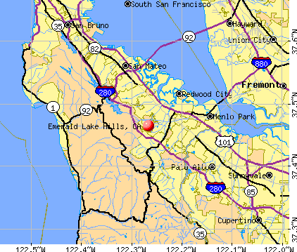 Emerald Lake Hills, CA map
