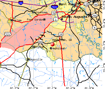 Hephzibah, GA map
