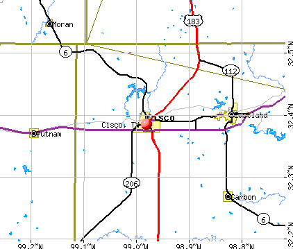 Cisco, TX map