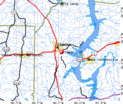 Camden, TN map