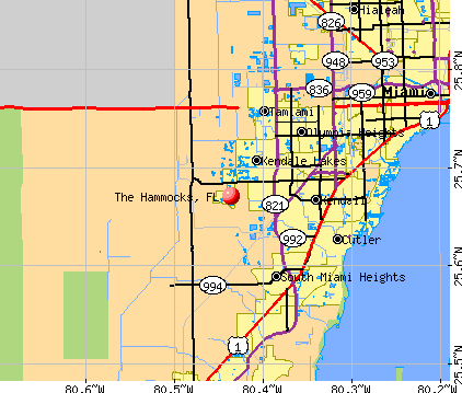 The Hammocks, FL map