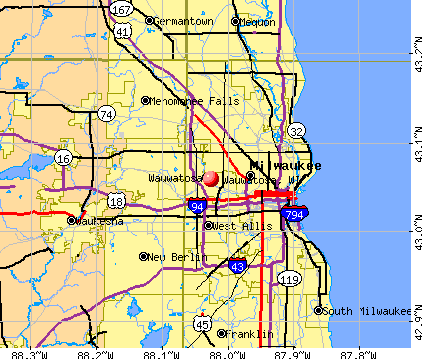 Wauwatosa, WI map