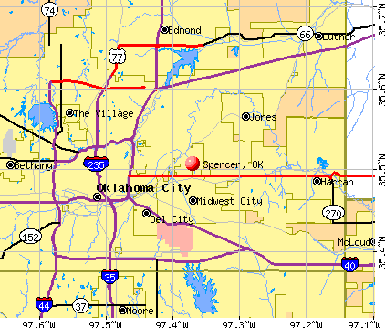 Spencer, OK map