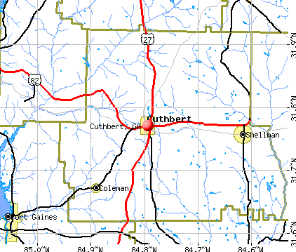 Cuthbert, GA map