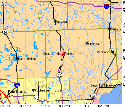 Romeo, MI map