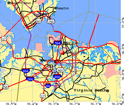 Norfolk, VA map