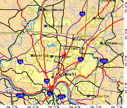 Lockland, OH map