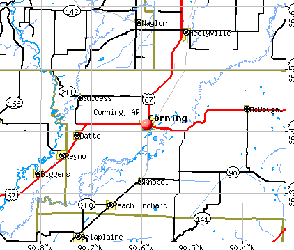 Corning, AR map