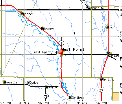 West Point, NE map