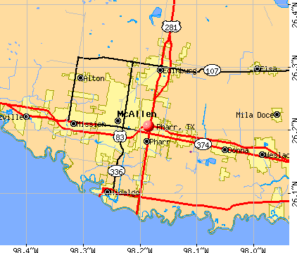 Pharr, TX map