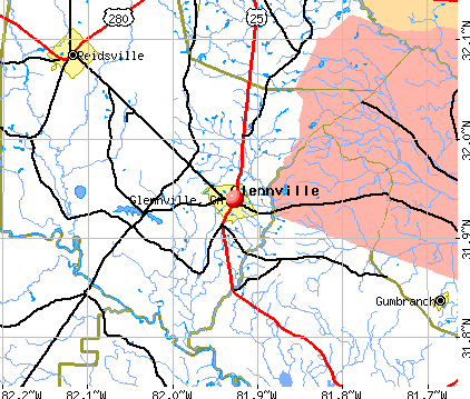 Glennville, GA map
