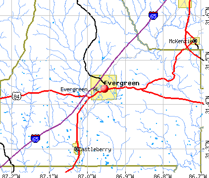Evergreen, AL map