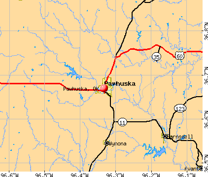 Pawhuska, OK map
