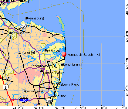Monmouth Beach, NJ map
