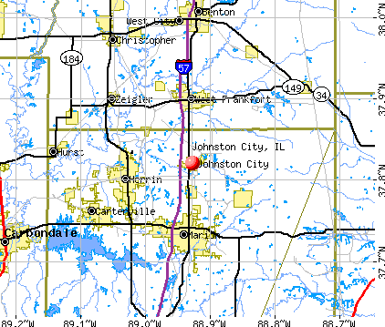 Johnston City, IL map