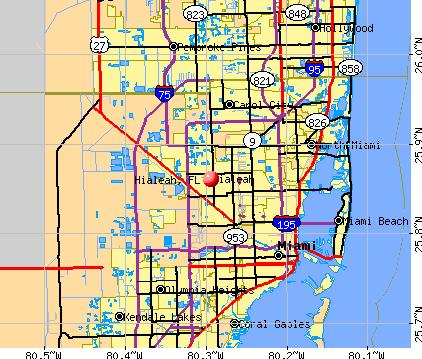 Hialeah, FL map