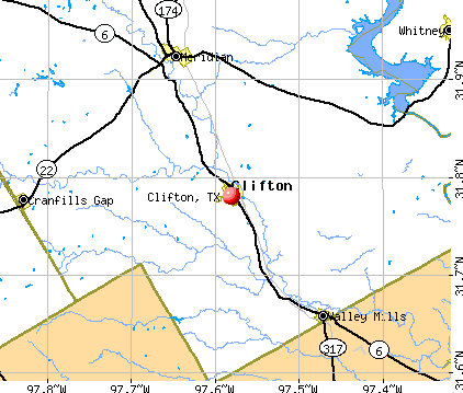 Clifton, TX map
