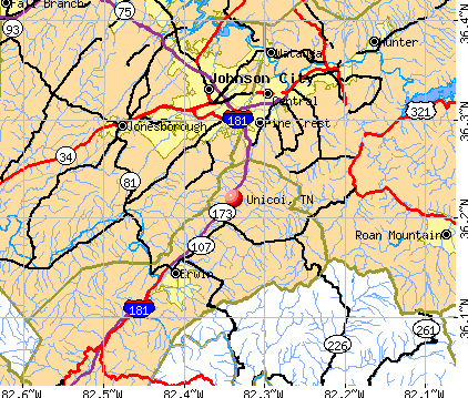 Unicoi, TN map