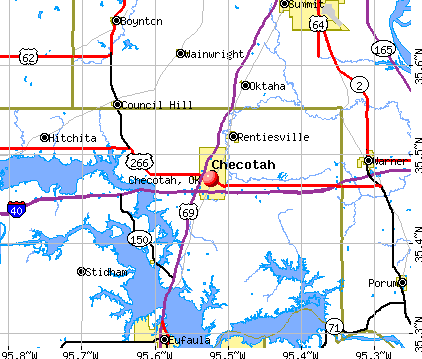 Checotah, OK map