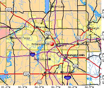 McDonald, OH map