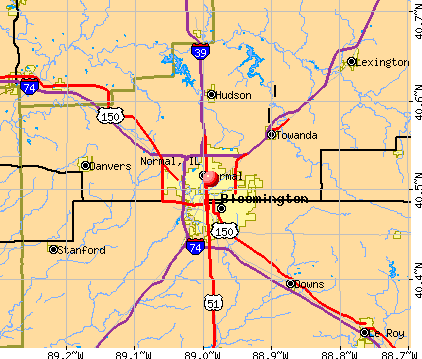 Normal, IL map