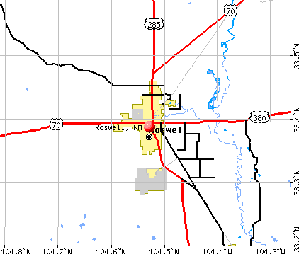Roswell, NM map