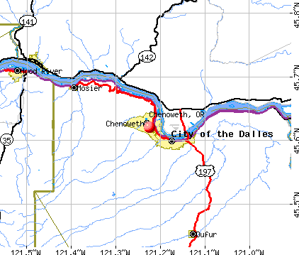 Chenoweth, OR map