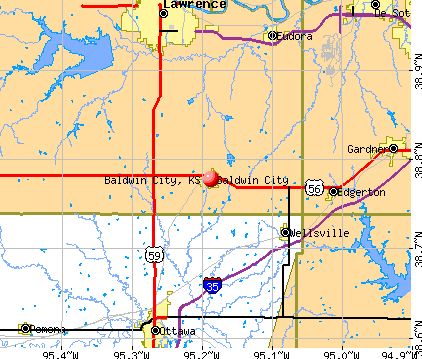 Baldwin City, KS map