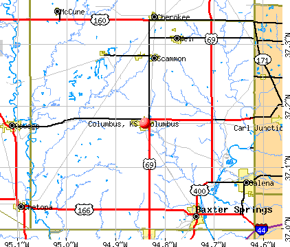 Columbus, KS map