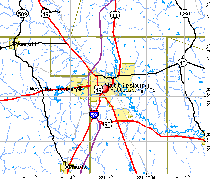 Hattiesburg, MS map