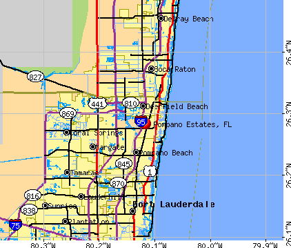 Pompano Estates, FL map