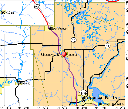 Bloomer, WI map