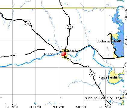 Llano, TX map