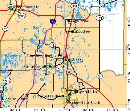 Dade City North, FL map