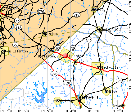 Williston, SC map