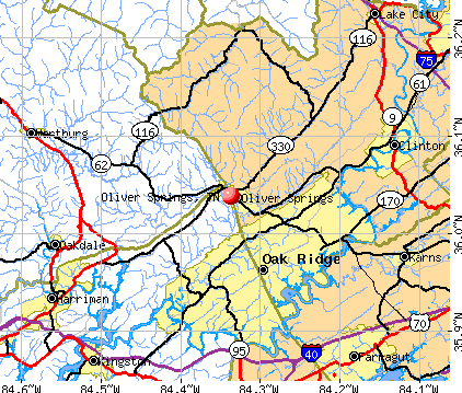 Oliver Springs, TN map