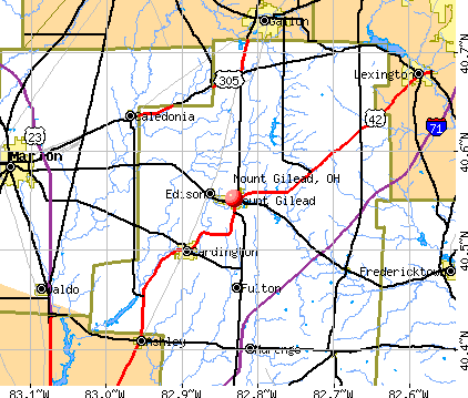 Mount Gilead, OH map