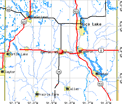 Barron, WI map