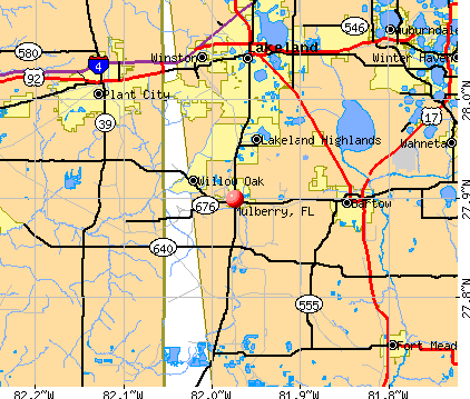 Mulberry, FL map