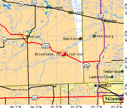 Blissfield, MI map