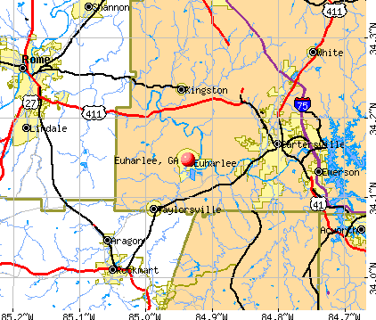 Euharlee, GA map