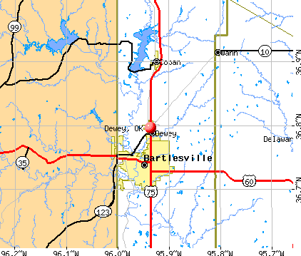 Dewey, OK map